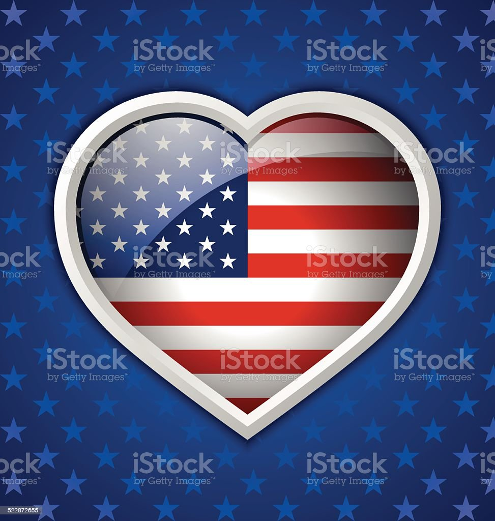 American heart badge vector art illustration
