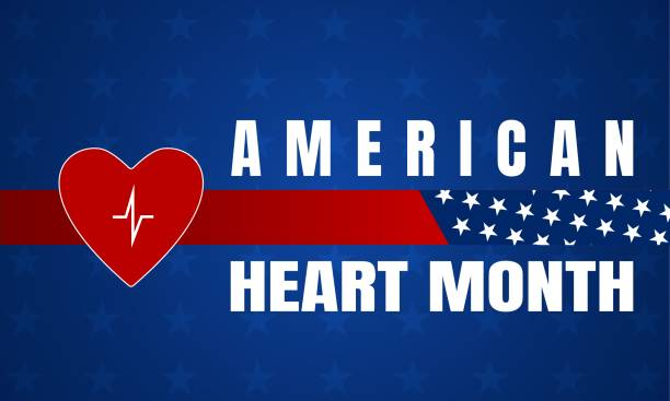American Heart Month background, poster, card vector art illustration