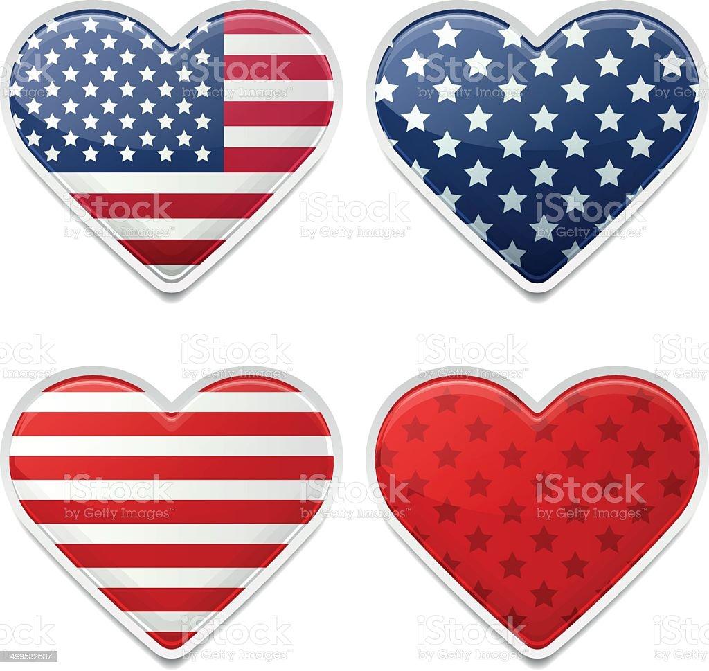 American Hearts vector art illustration