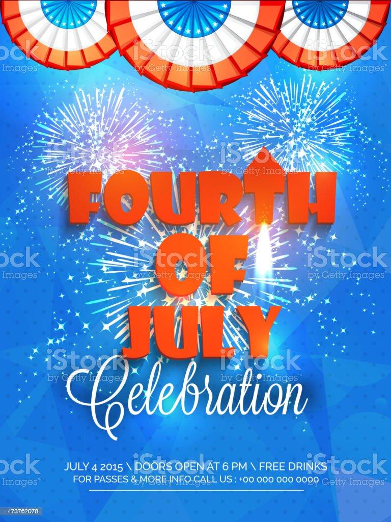 American Independence Day celebration beautiful invitation card. vector art illustration