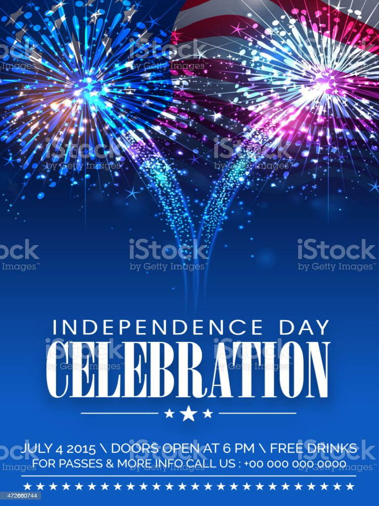 American Independence Day celebration invitation card with firew vector art illustration