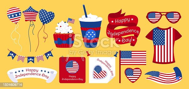 American Independence Day flat set Flag USA vector