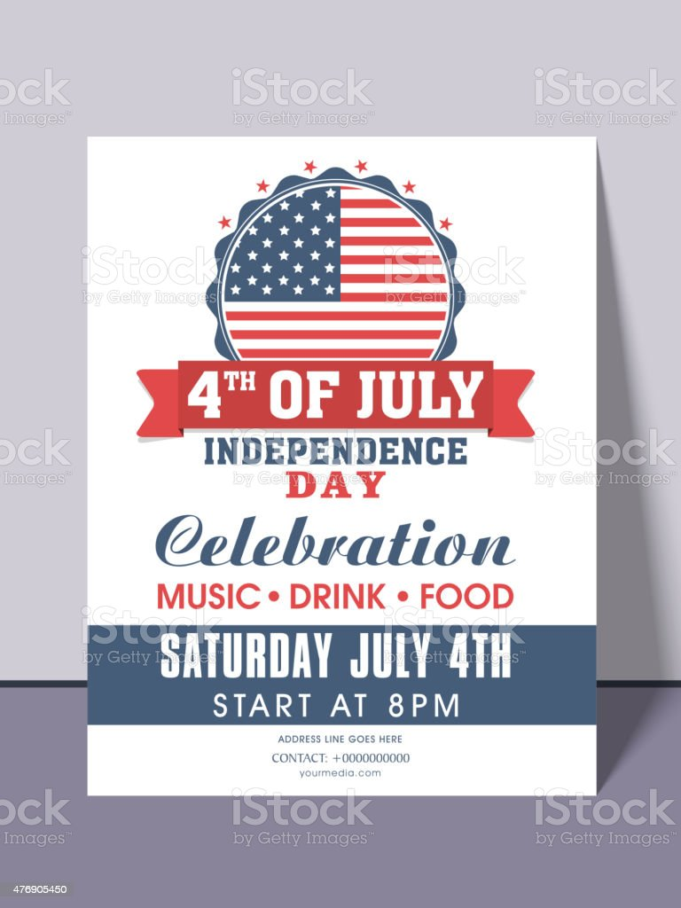 American Independence Day invitation card. vector art illustration
