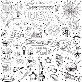 American Independence Day themed doodle set. National symbols of Fourth of July. Hand Drawn.