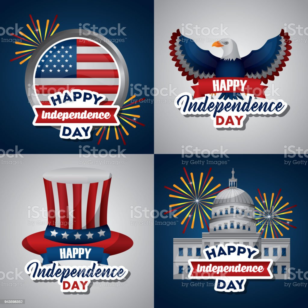 american independence day vector art illustration