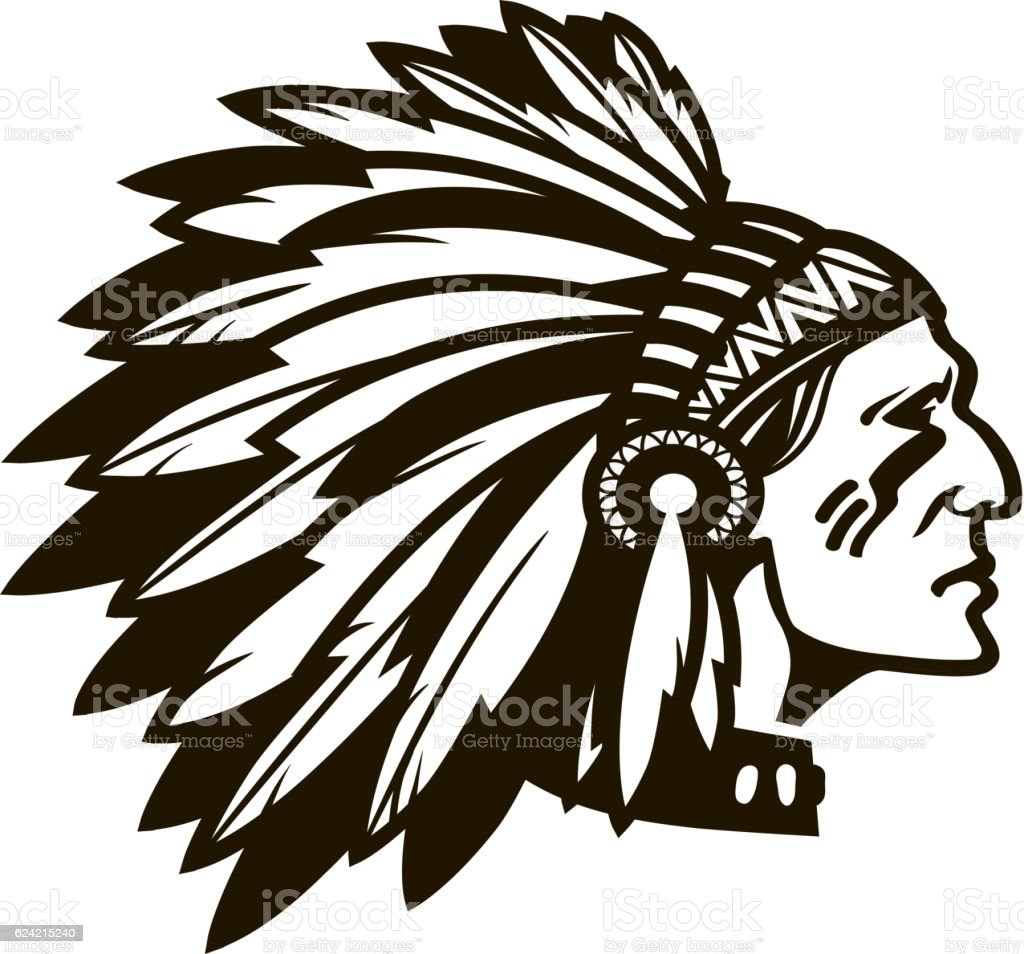 American Indian Chief Logo Or Icon Vector Illustration Stock