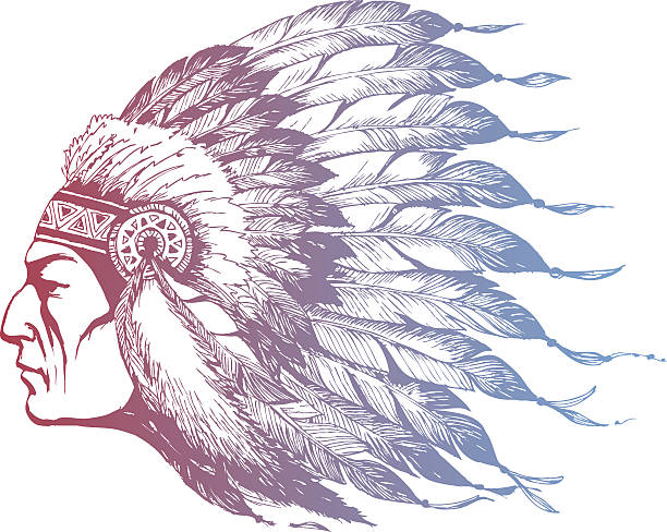 american indian chief  - kopfschmuck stock-grafiken, -clipart, -cartoons und -symbole
