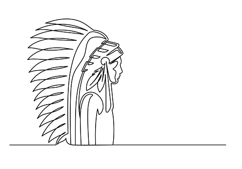 American indian continuous line