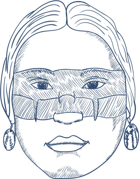 アメリカ ・ インディアンの顔手描き。ベクトル ベクターアートイラスト