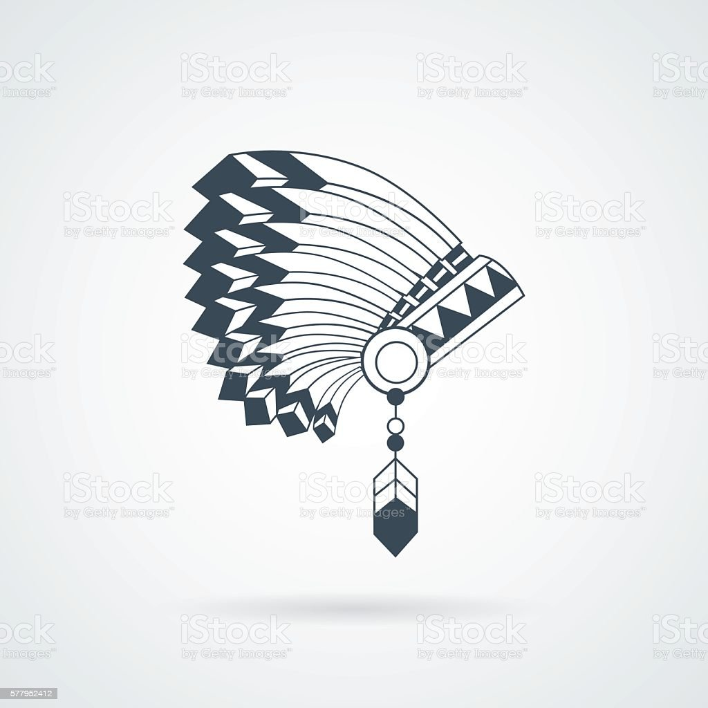 American Indian feathers war bonnet vector art illustration
