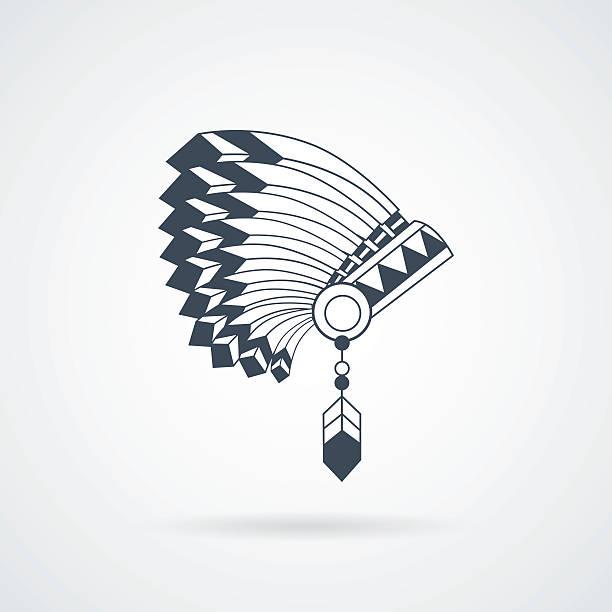 american indian feathers war bonnet - kopfschmuck stock-grafiken, -clipart, -cartoons und -symbole