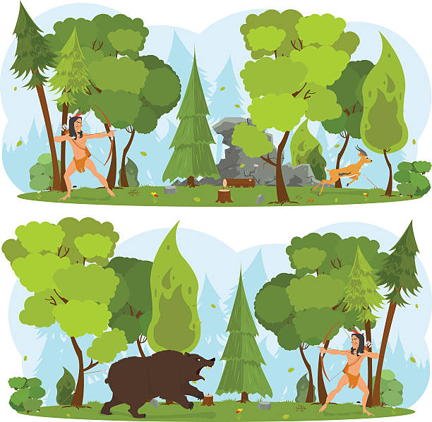 American Indian in the woods hunting vector art illustration
