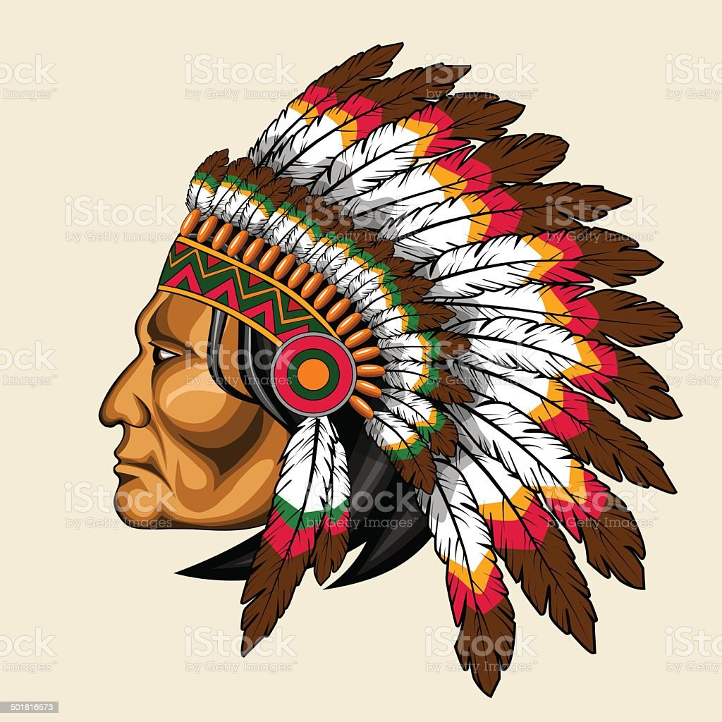 american indian in traditional costume vector art illustration