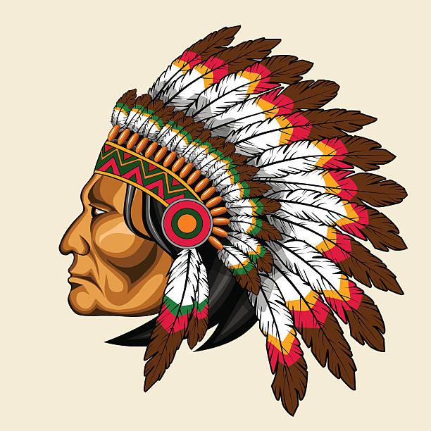 american indian in traditioneller kleidung - kopfschmuck stock-grafiken, -clipart, -cartoons und -symbole