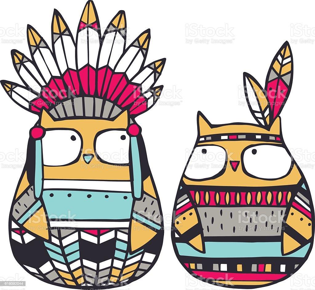 アメリカ インディアンのフクロウ - イラストレーションのベクターアート