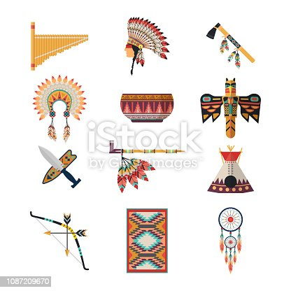Set of isolated american indian attributes. Musical instrument and headdress with feather, axe or hatchet and wigwam, smoking pipe and carpet, totem and bow, dreamcatcher. USA culture, tribal