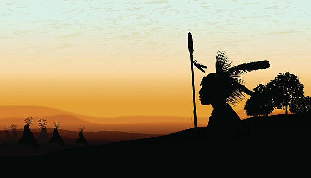 American Indian Teepee Background at Twilight Background American Indian Teepee Background at Twilight Background. Tight graphic silhouette background illustration of an American Indian looking at teepees at twilight. Check out my