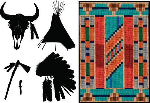 American Indian - Teepee, Headdress, Tomahawk