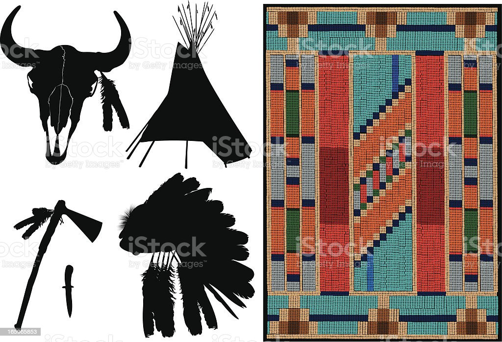 American Indian - Teepee, Headdress, Tomahawk vector art illustration