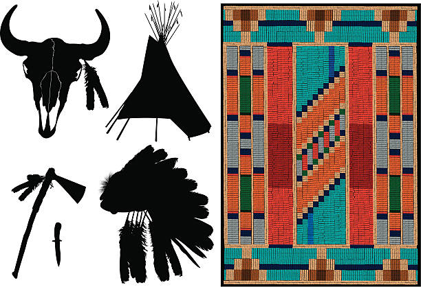 """American Indian - Teepee, Headdress, Tomahawk Tight graphic silhouettes of American Indian Teepee, Headdress, Tomahawk. Indian tapestry - beading. Use as a colorful background and reverse out the silhouettes. Check out my """"Americana"""" light box for more. bead stock illustrations"""