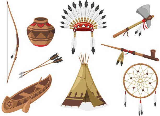 American Indigenous Indian Native Natives Tribal Culture American Indigenous Indian Native Natives Tribal Culture, vector illustration cartoon. teepee stock illustrations