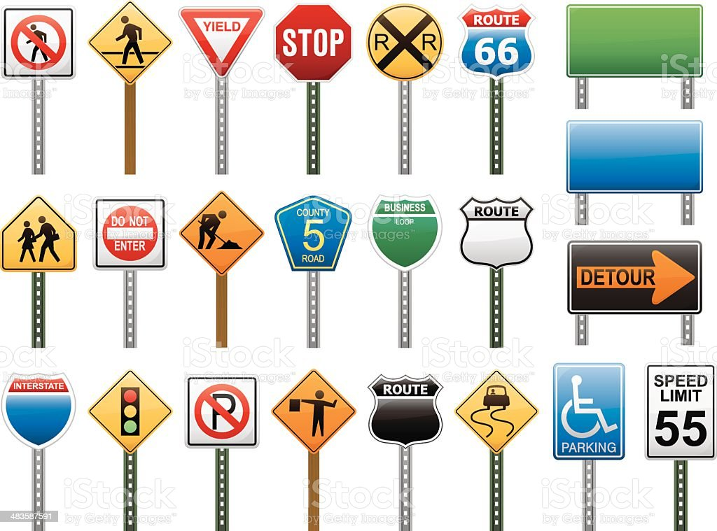 American Interstate Road Sign Vector Illustration Collection