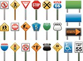A wide variety of American road signs. This set includes the stop sign as well as handicap parking, speed limit, construction, do not enter, railroad, walk and don't walk, yield, stoplight, business loop, county road, no parking and interstate signs. It also includes the popular Route 66 sign.