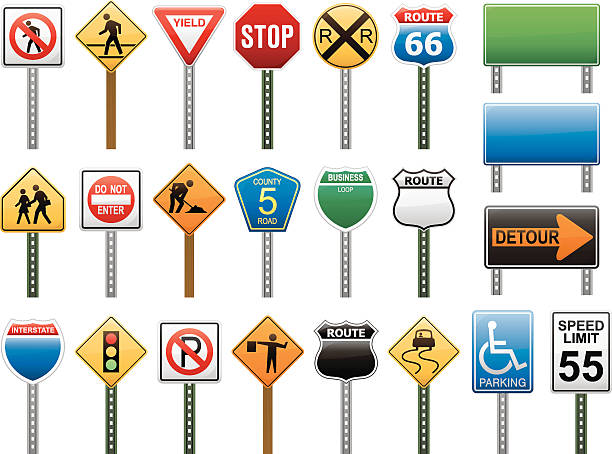 American Interstate Road Sign Vector Illustration Collection vector art illustration