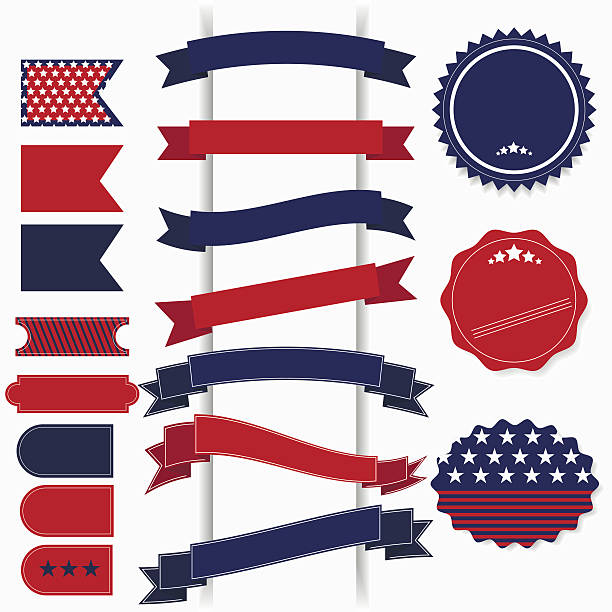 american july 4th independence day retro vector elements. - independence day stock illustrations