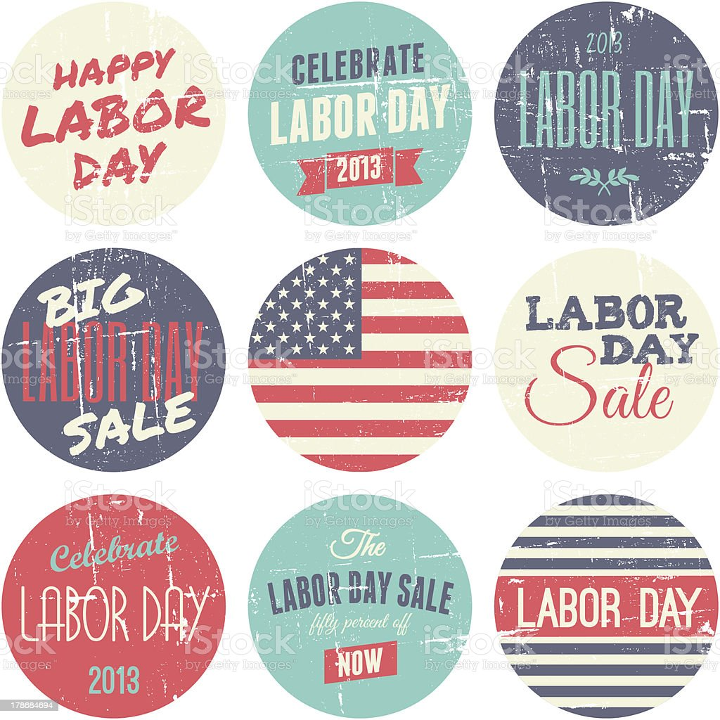 American Labor Day Sickers Collection royalty-free stock vector art