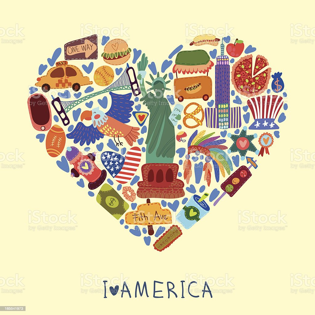 American love with hand drawn elements vector art illustration
