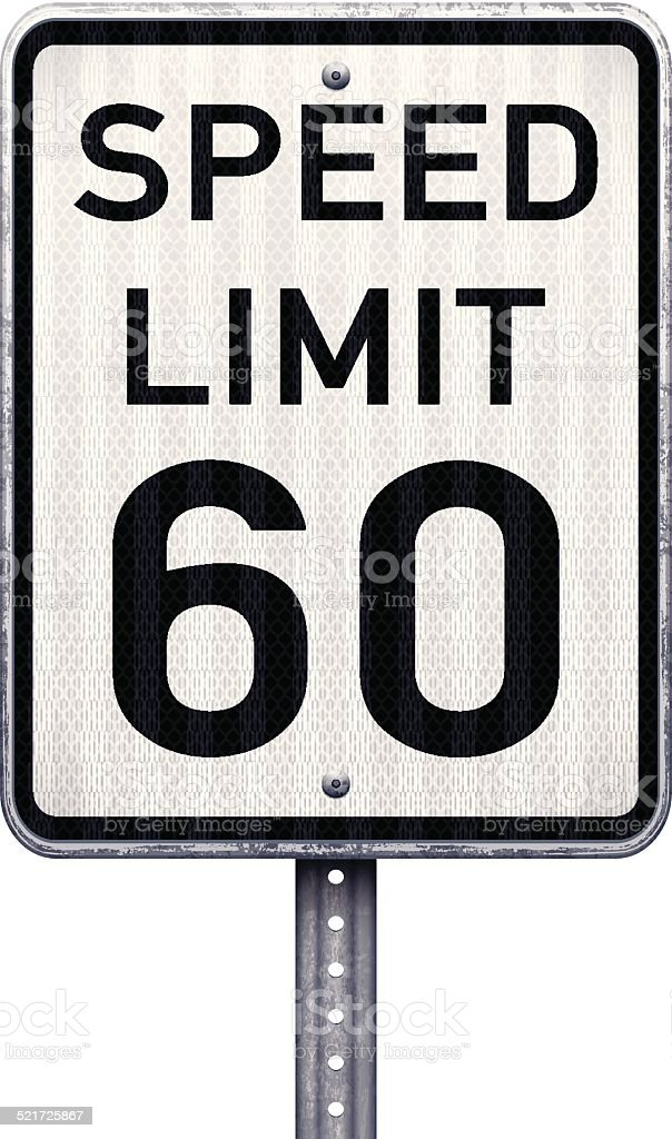 American maximum speed limit 60 mph road sign vector art illustration