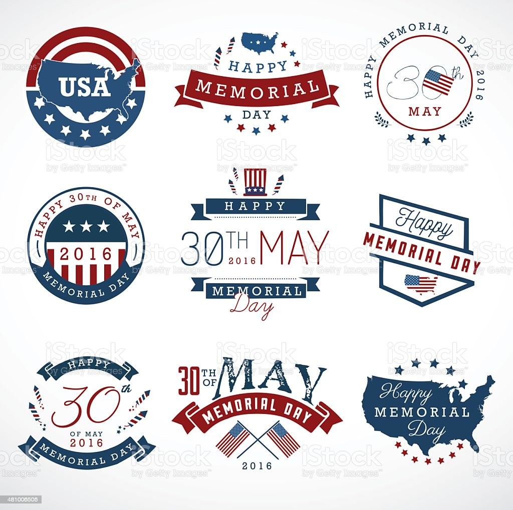 American Memorial Day Badges and Labels in Vintage Style vector art illustration