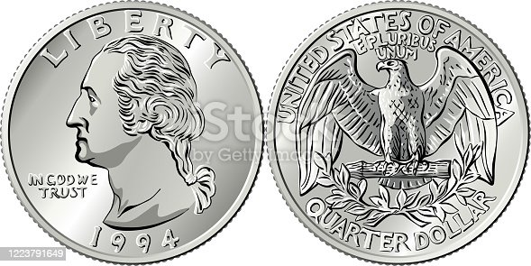 istock American money Washington quarter 25 cent coin 1223791649