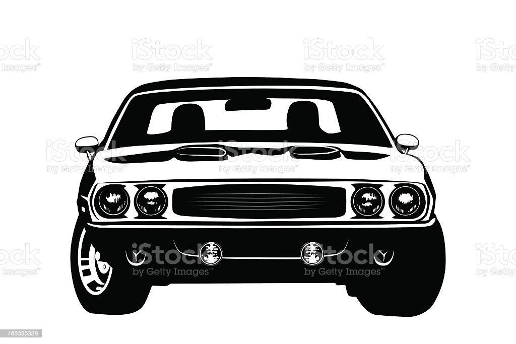 American muscle car legend silhouette vector art illustration