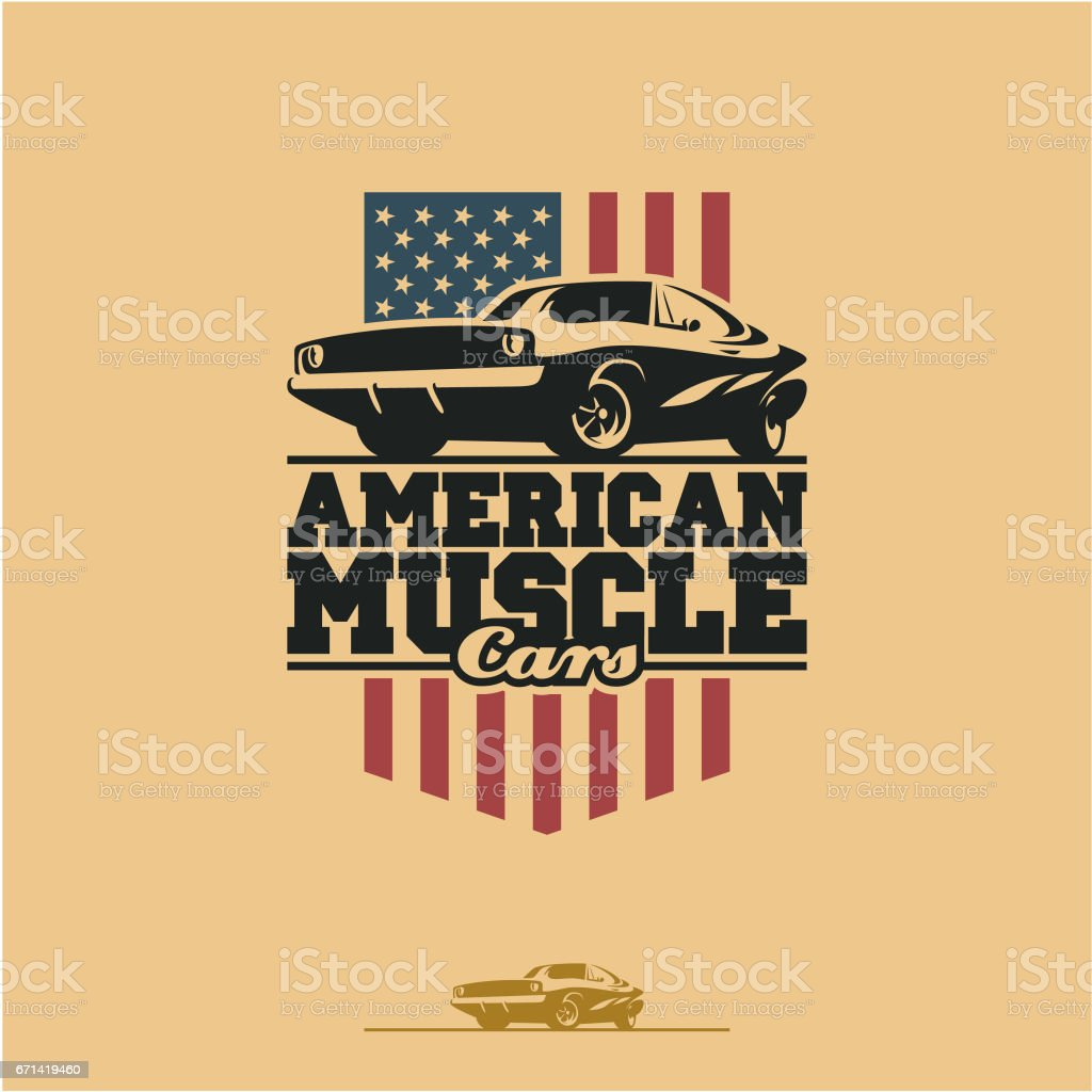 American muscle car vector art illustration