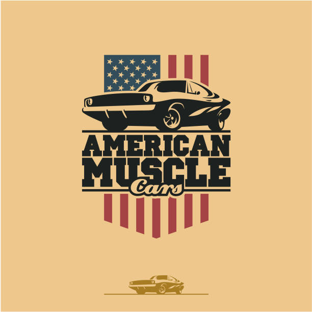 American muscle car American muscle cars label, vector muscle car icon sports car stock illustrations