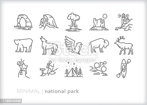 Set of 15 National Park line icons of famous natural sites, wild animals and activities such as camping, hiking, and kayaking