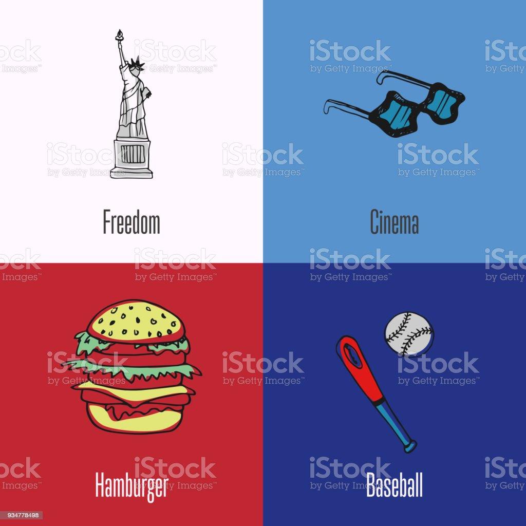 American national cultural, political, culinary, sports symbols....