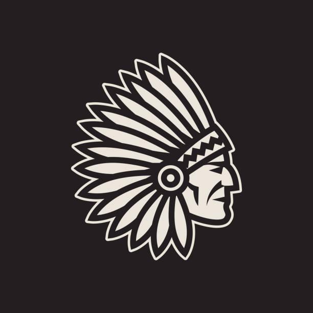 Americano nativo chefe principal ícone. Logotipo do indiano - ilustração de arte em vetor