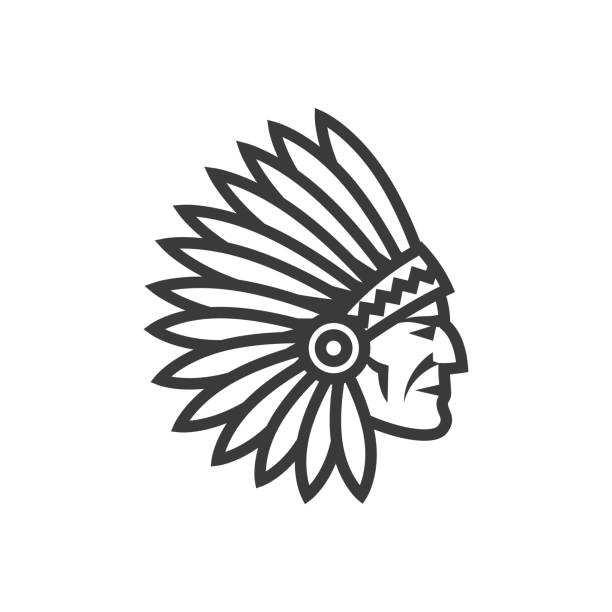amerikanische native chef kopf ikone. indian - kopfschmuck stock-grafiken, -clipart, -cartoons und -symbole