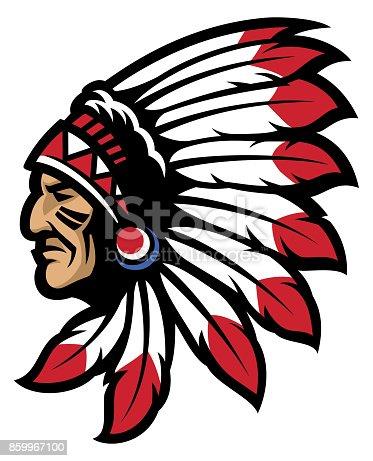 vector of American native chief head mascot