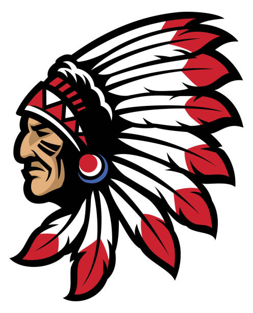 American native chief head mascot vector of American native chief head mascot one senior man only illustrations stock illustrations
