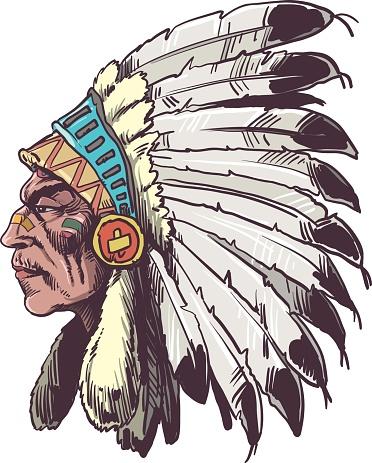 American native chief head - Vector