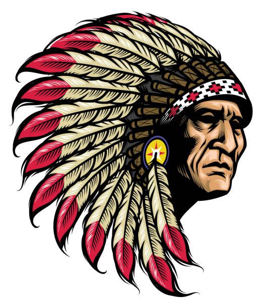 native american chief - kopfschmuck stock-grafiken, -clipart, -cartoons und -symbole