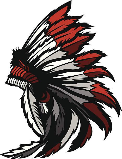 native american indian feather headress maskottchen vektor-grafik - kopfschmuck stock-grafiken, -clipart, -cartoons und -symbole