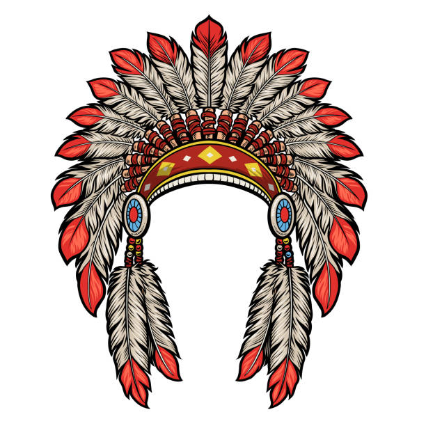 american native indian head dress vector of american native indian head dress indigenous peoples of the americas stock illustrations