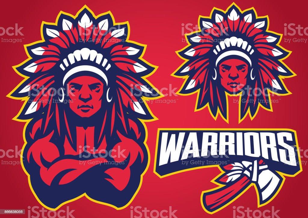 American Native Warrior vector art illustration