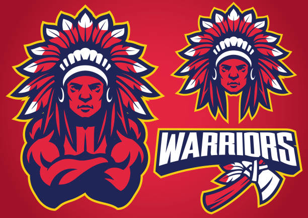 american native warrior - indian stock illustrations, clip art, cartoons, & icons