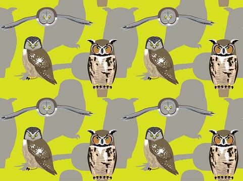 American Owl Cartoon Seamless Wallpaper